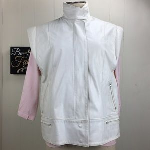 Vintage 80s Off-White Leather Vest